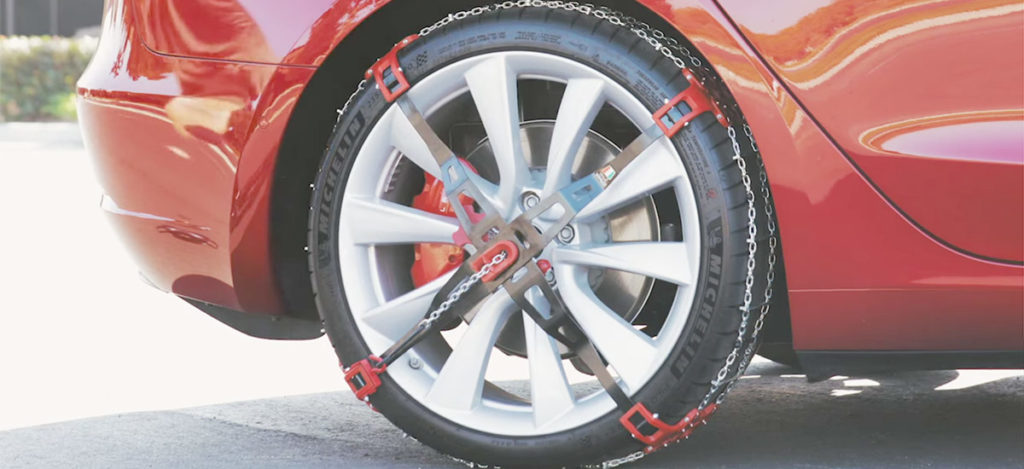 Tesla Model 3 snow chain for enhanced traction in winter driving