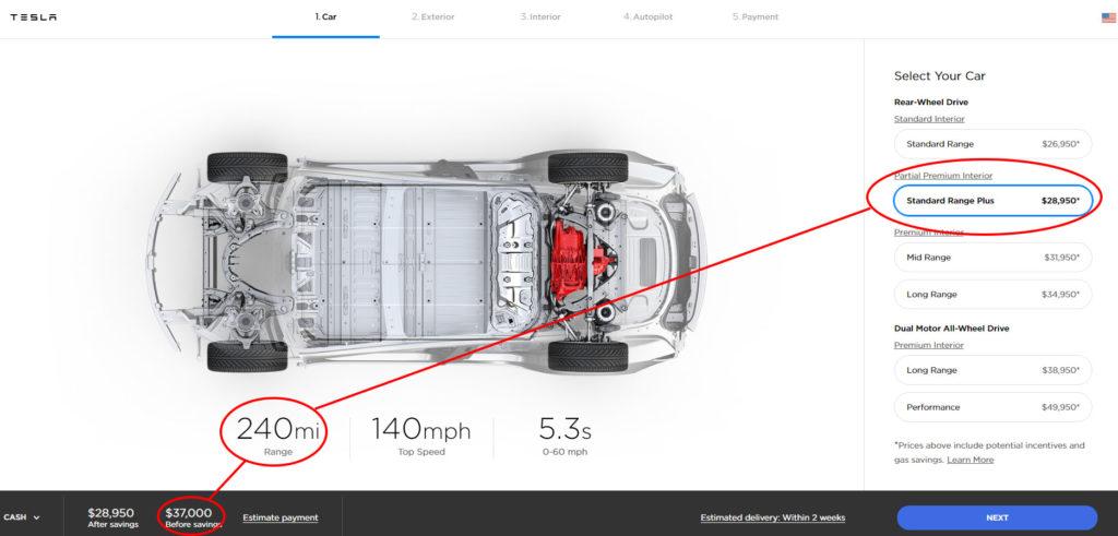 Tesla Model 3 Standard Range - 240 miles, $37,000