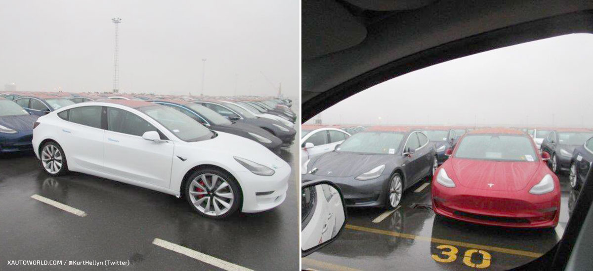 Tesla Model 3 Europe shipment unloading at the Port of Zeebrugge, Belgium