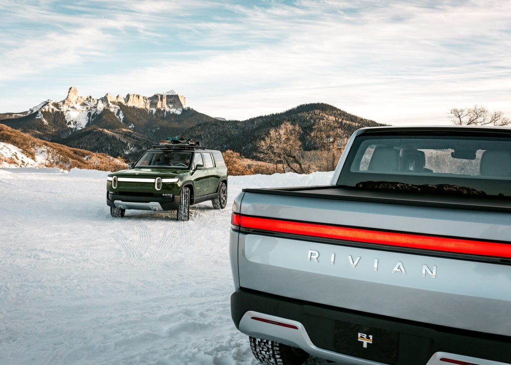 Rivian R1S SUV and R1T Pickup Truck in action