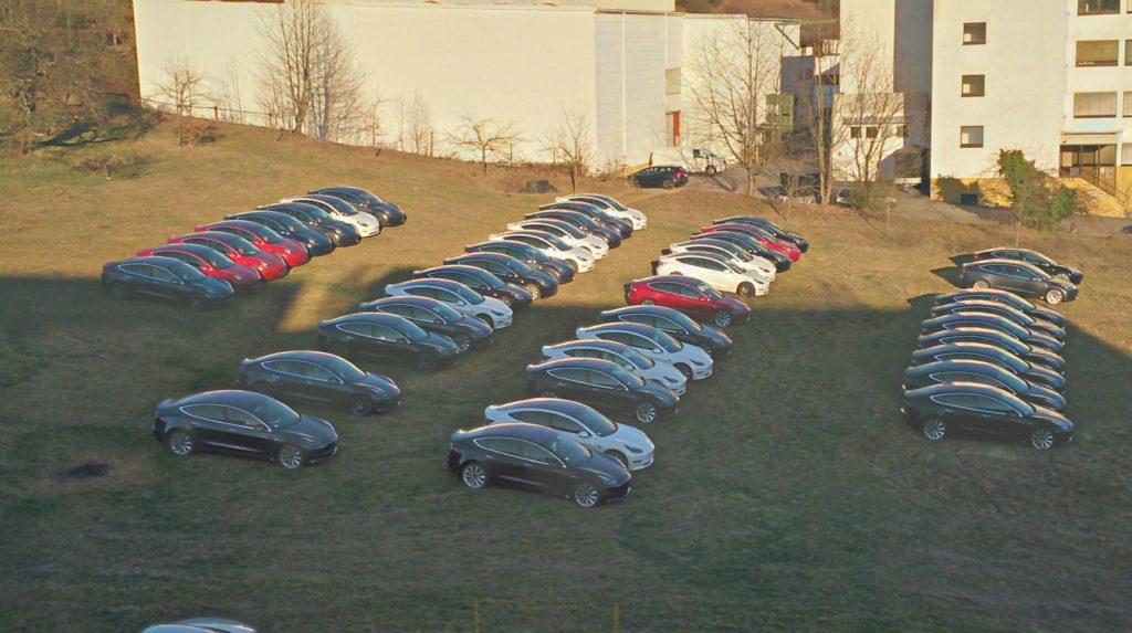 Tesla Store in Frankfurt Germany's parking lot used for Tesla Model 3 storage for deliveries.