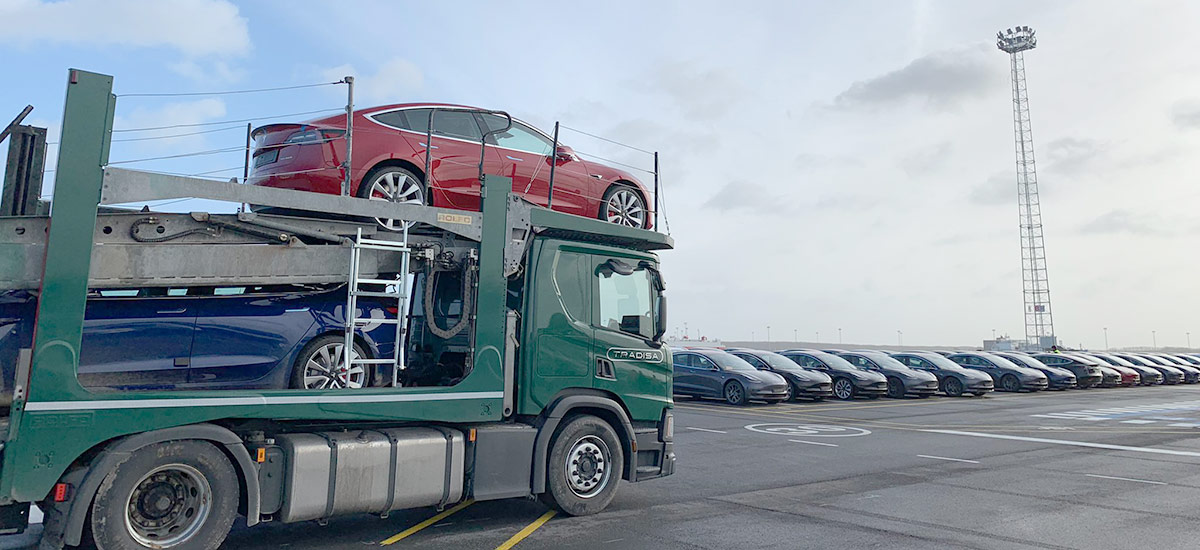 Thousands of Tesla Model 3 in line for deliveries at the Port Of Zebrugge, Belgium.