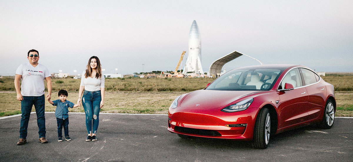 Tesla Model 3 owners in love with their car, visiting SpaceX HQ