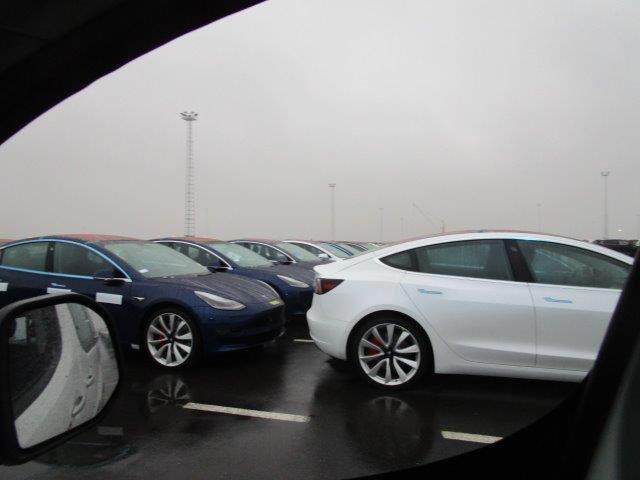 Tesla Model 3 vehicle fleet at the Port of Zeebrugge, Belgium - black Model 3s in focus