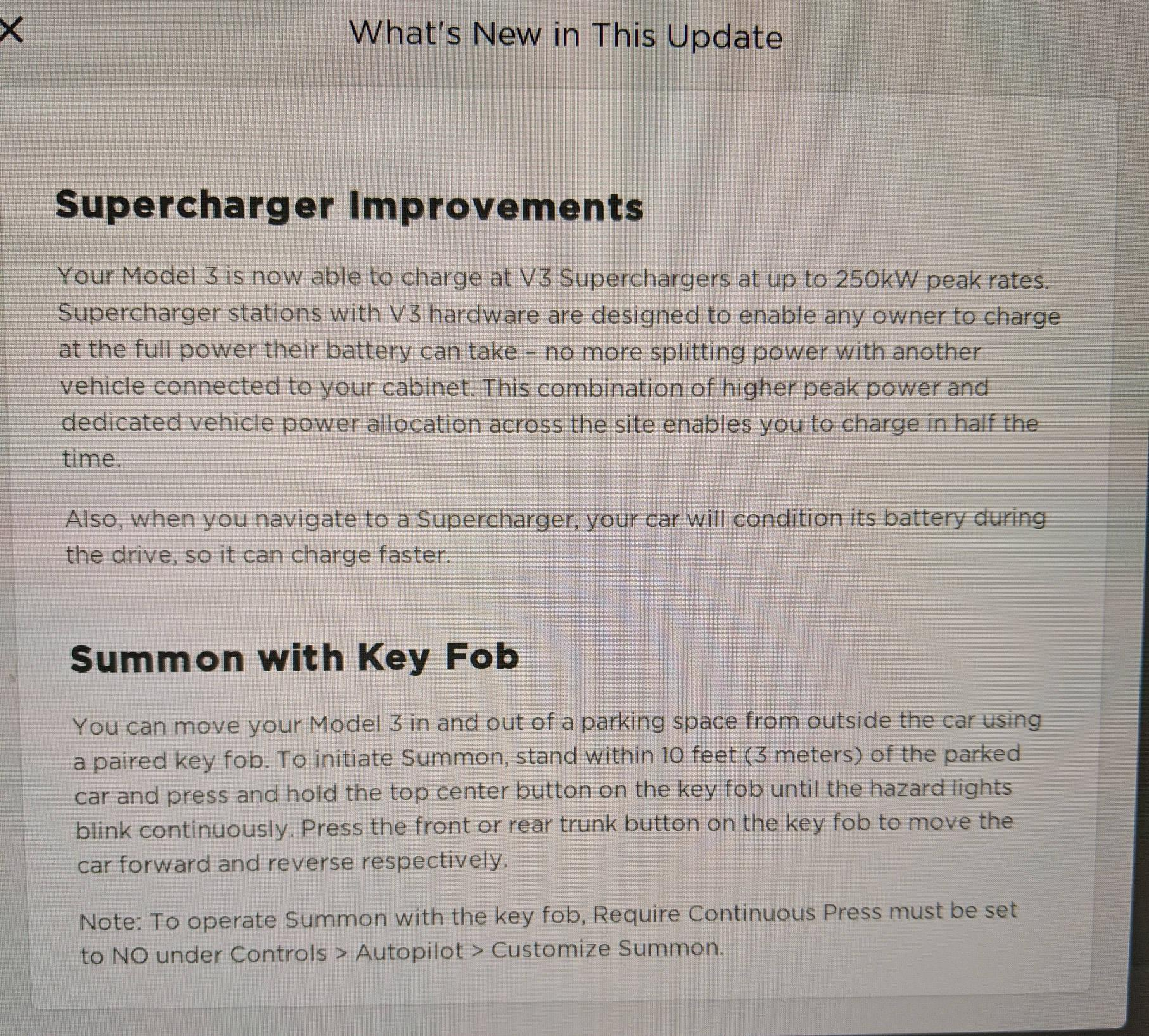 2019.7.11 release notes for Tesla Model 3 (Mar, 2019)
