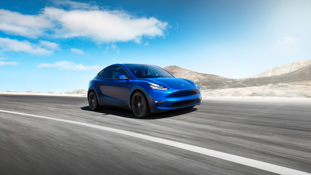 Tesla Model Y in blue color, front view