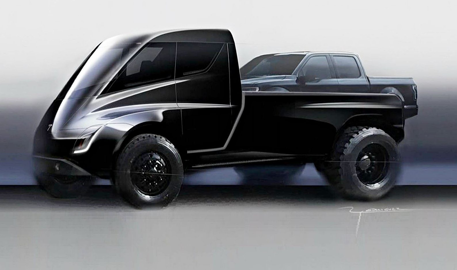 An early Tesla Pickup truck illustration carrying a Ford F-150 pickup truck on the back.