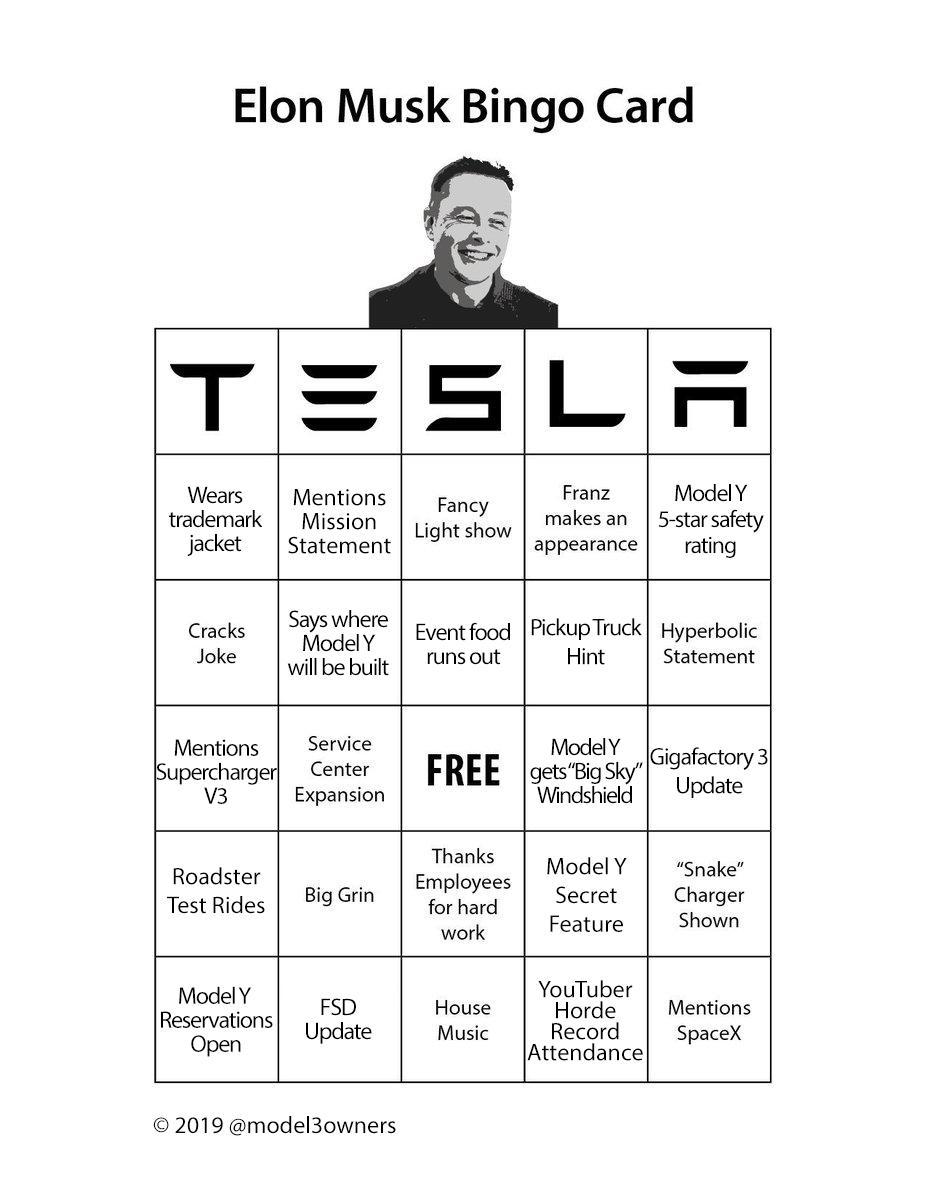Tesla Model Y unveil event bingo card.