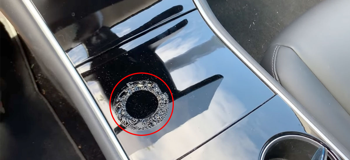 Tesla Model 3 center console film coating torn