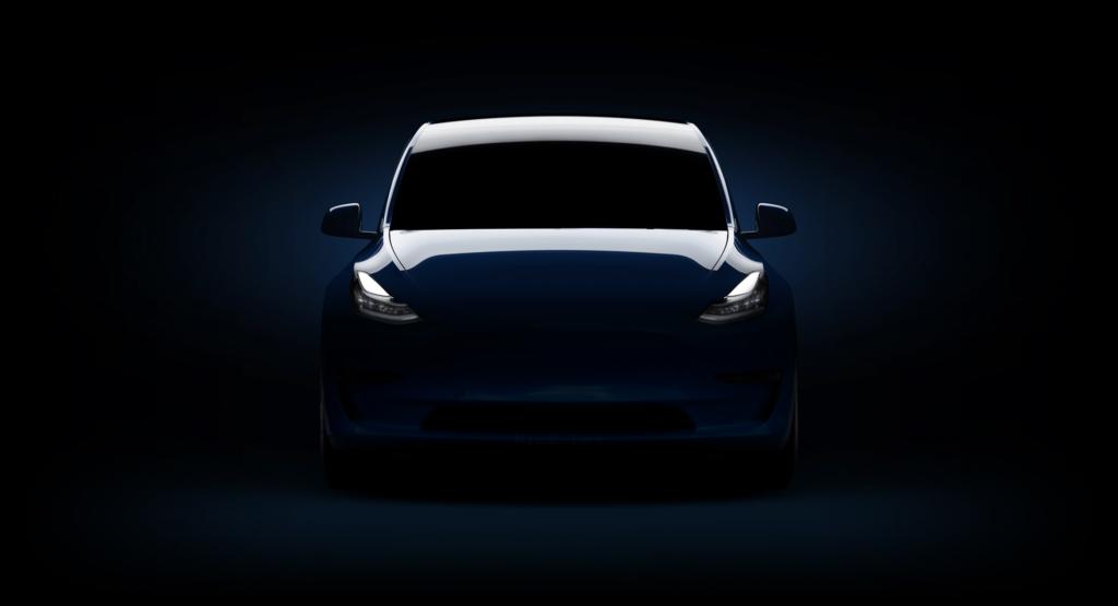 Tesla Model Y teaser image filled by enthusiast, dark version.