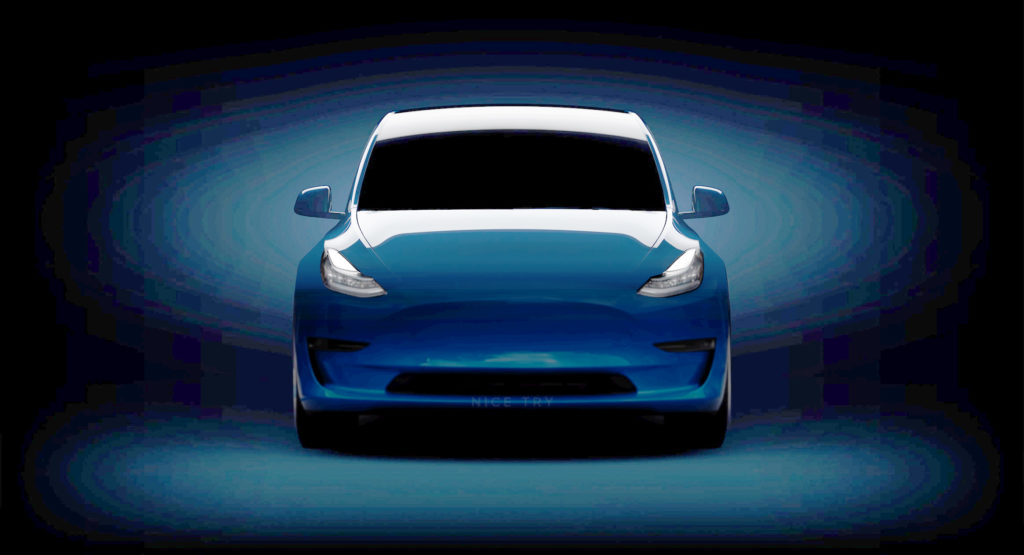 Tesla Model Y teaser image filled by enthusiast, bright version.