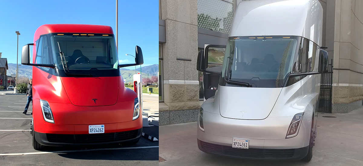 Red and Silver Tesla Semi trucks spotted in video and pictures