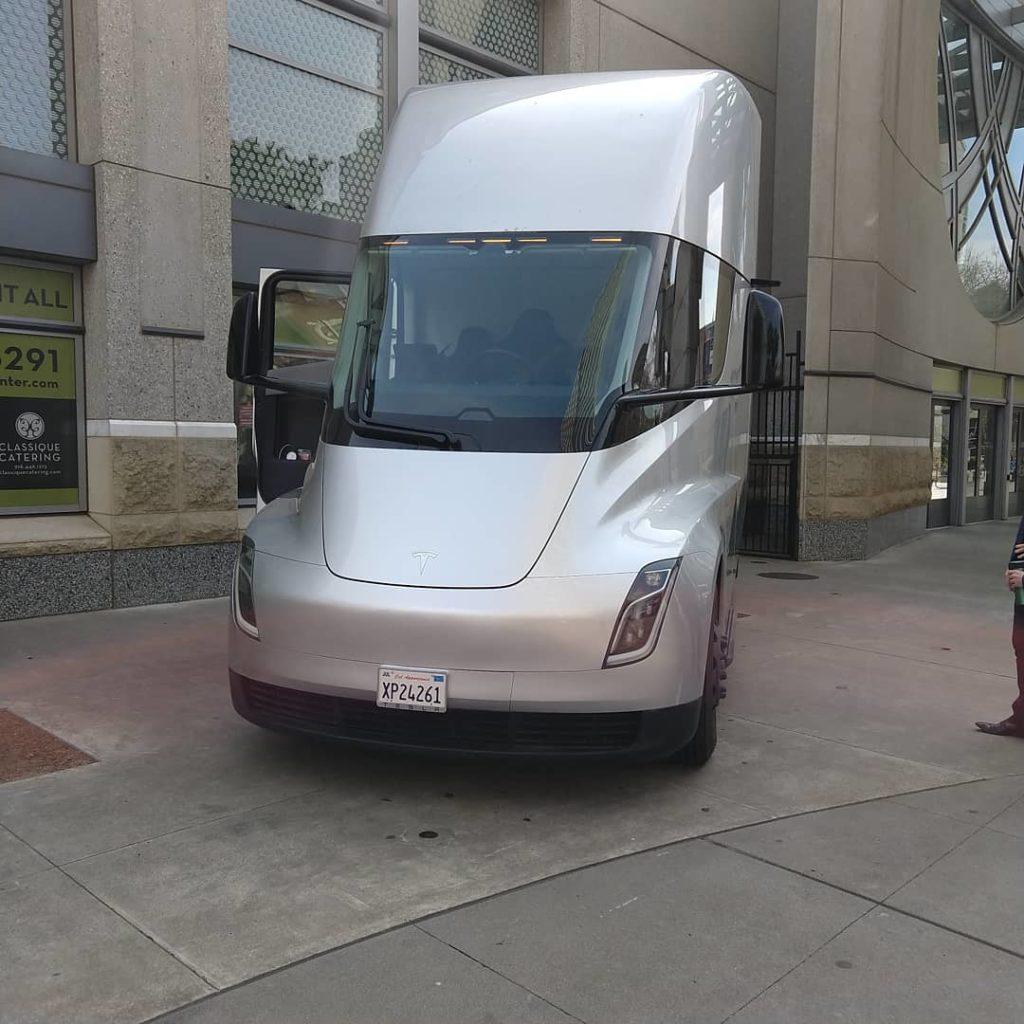 Silver Tesla Semi spotted in Sacramento, CA - front angle