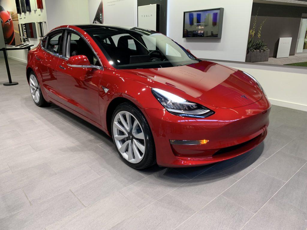 Tesla Model 3 at the Solihull, UK Tesla Showroom