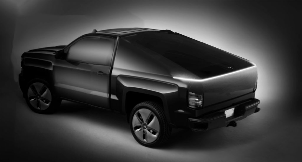 Tesla Pickup truck's teaser image, how it would look on the vehicle.