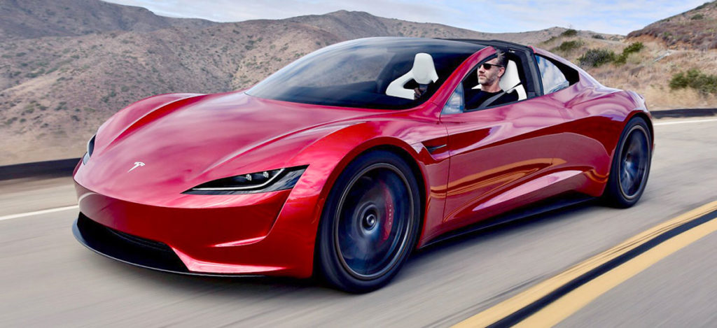 Next-gen Tesla Roadster on an afternoon cruise, driven by Tesla Chief Designer Franz Von Holzhausen
