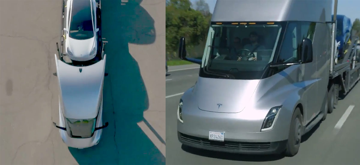 Tesla Semi Car Carrier - Carrying Tesla Model 3s on the trailer and cruising effortlessly