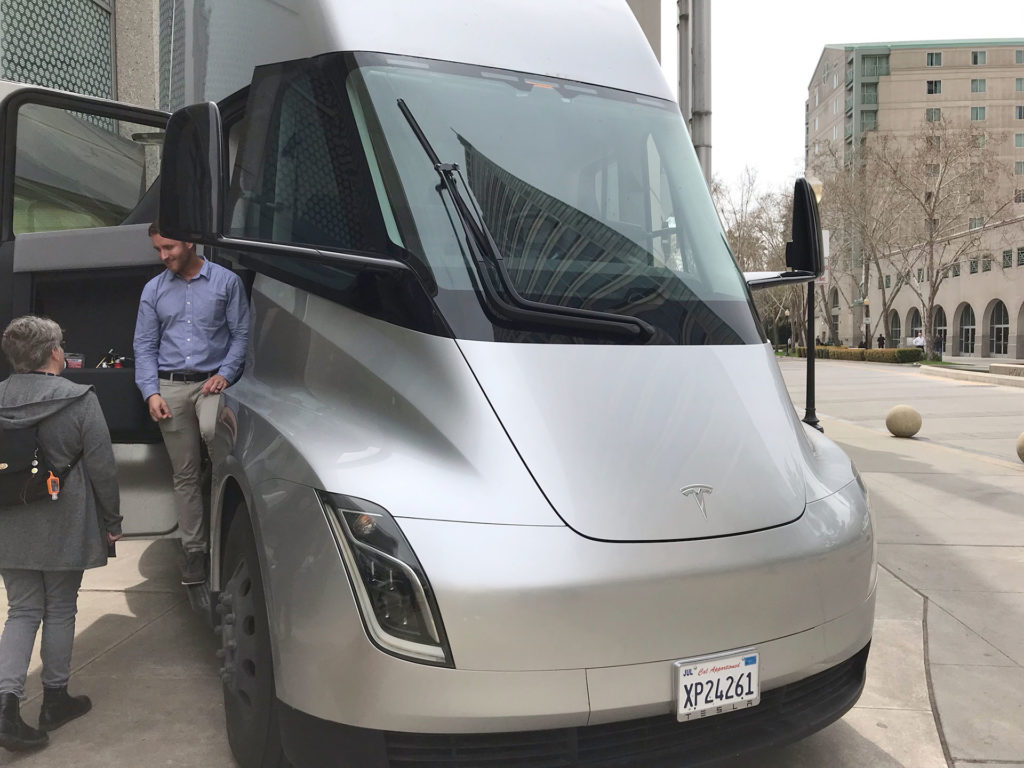 Tesla Semi Truck in silver color on display in Sacramento, CA