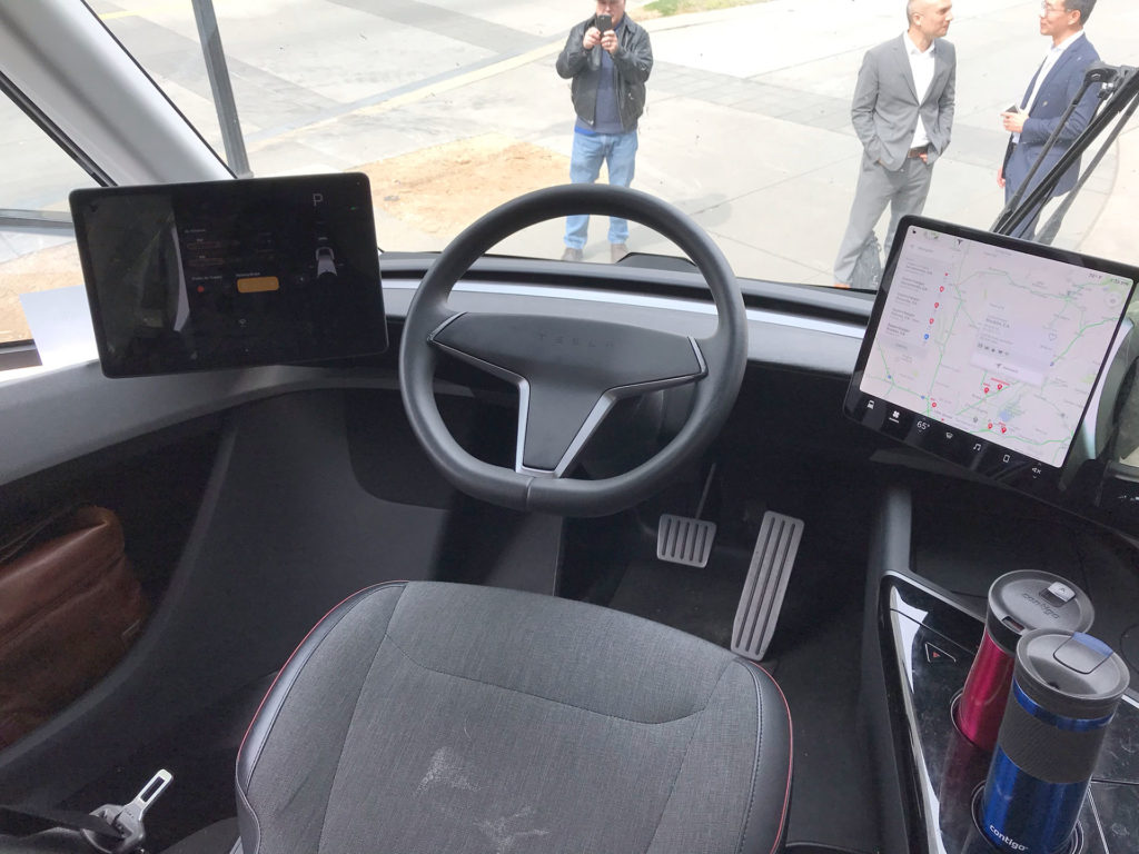 "Tesla Semi Truck Interior: Dual 15"" touchscreen displays"