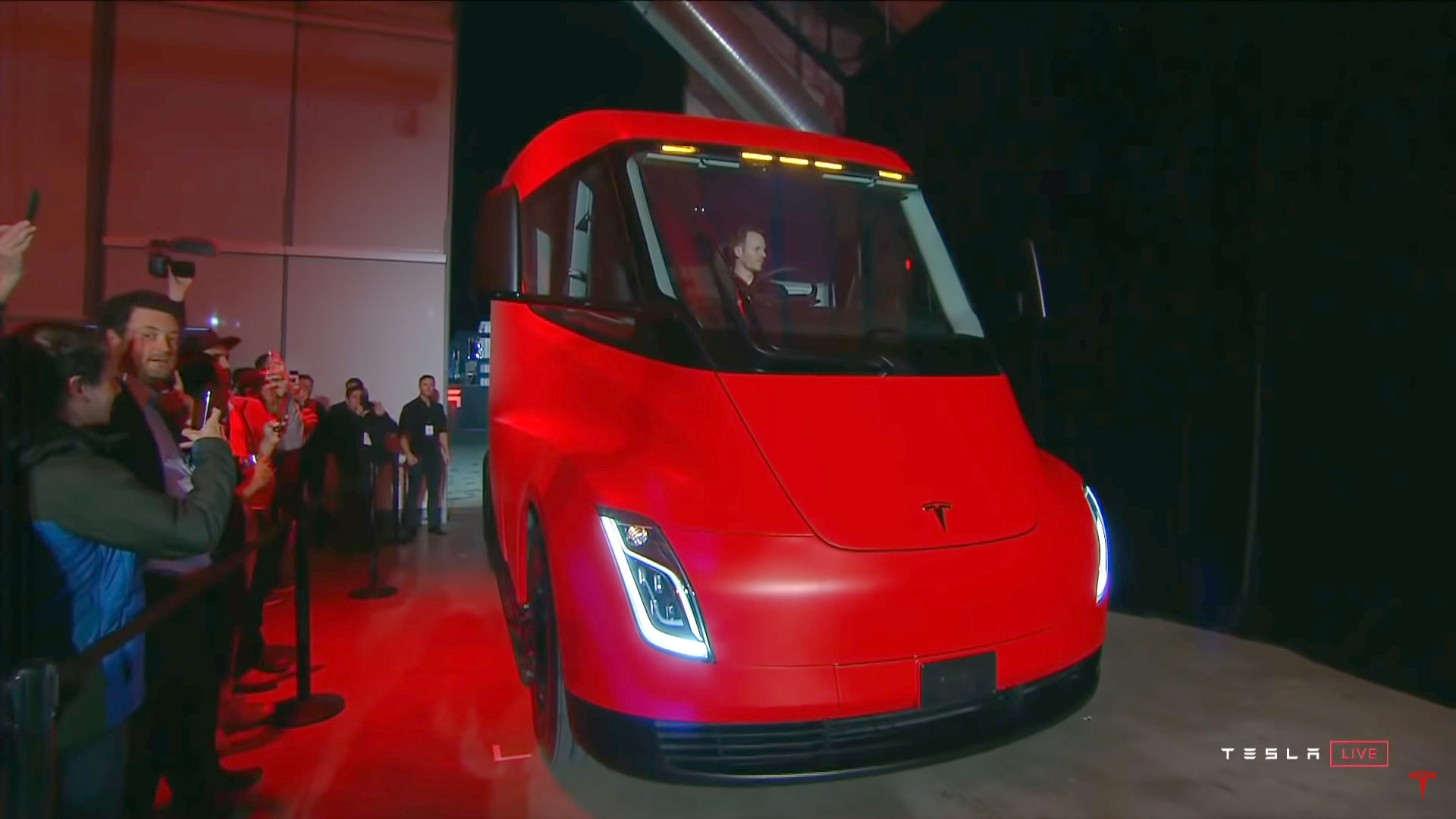 Red Tesla Semi truck presented at the Model Y event