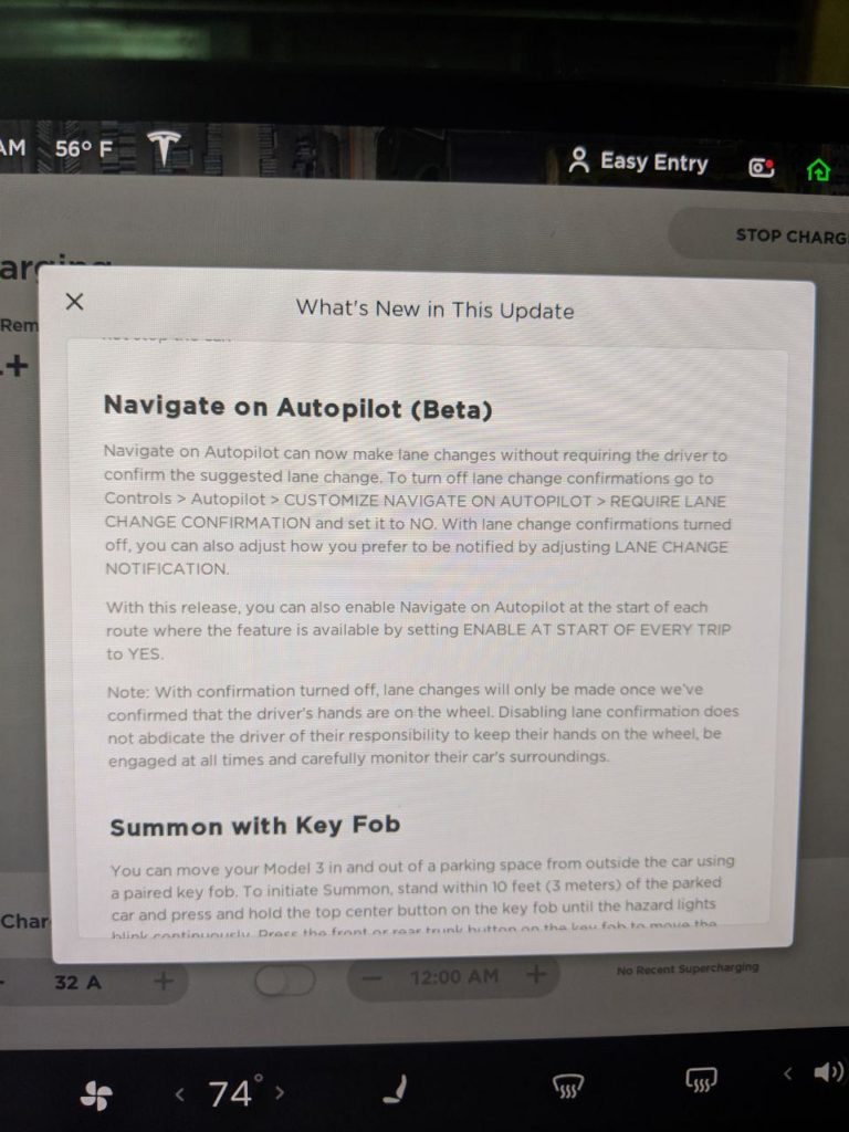 Navigate on Autopilot - No Confirmation release notes screenshot (2019.8.5)