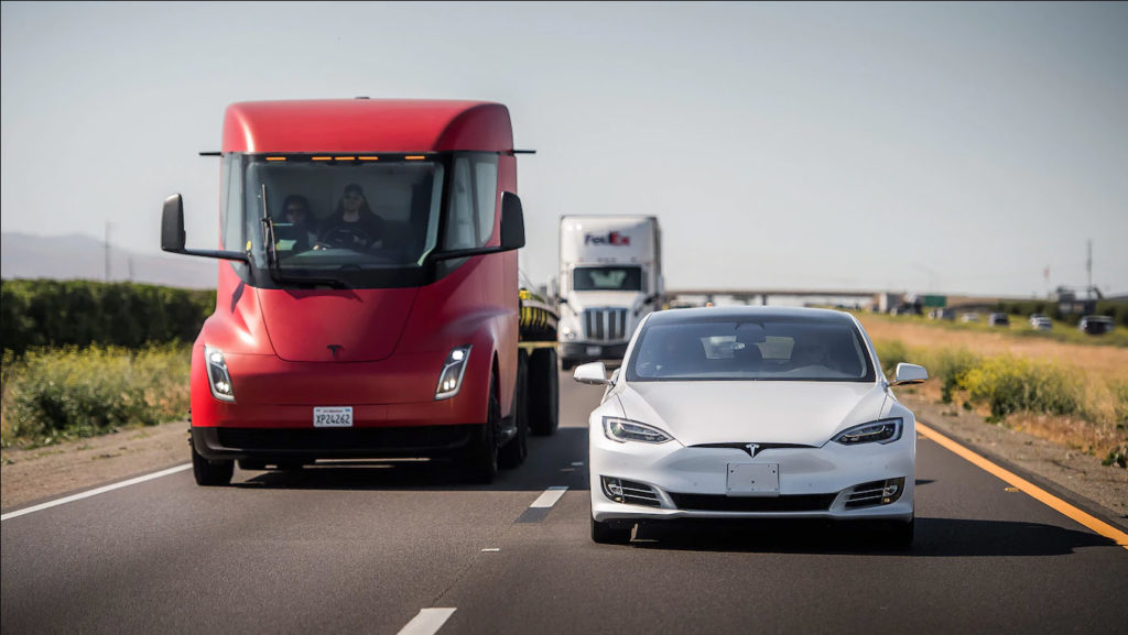 The updated Tesla Model S being tested by Motor Trend along with the Tesla Semi Truck.