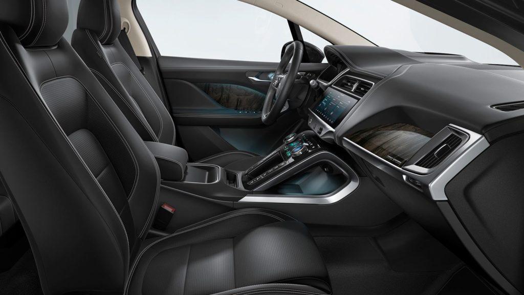 Jaguar I-Pace's optional black interior.