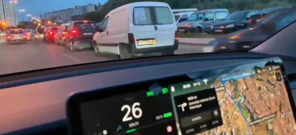 Tesla Model 3 roaming free in Portugal's gas crisis.