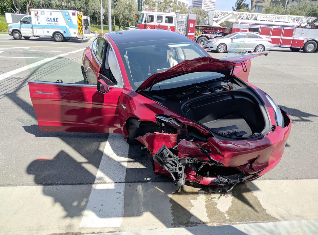 Tesla Model 3 front view after the crash