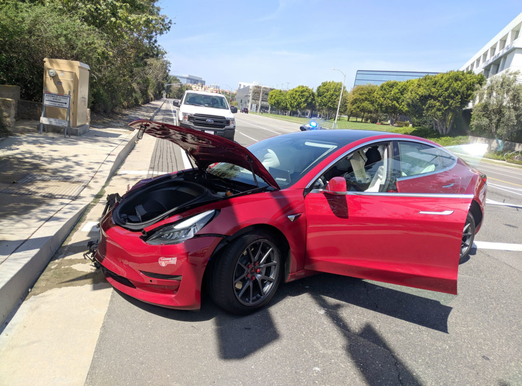 Tesla Model 3 other side view after the crash