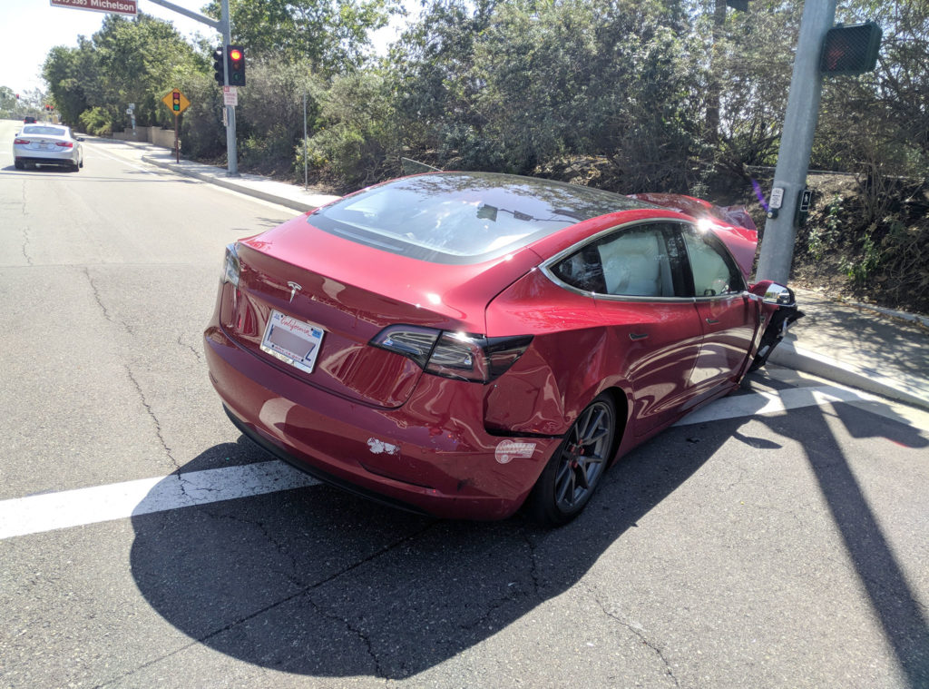 Tesla Model 3 rear view after the crash