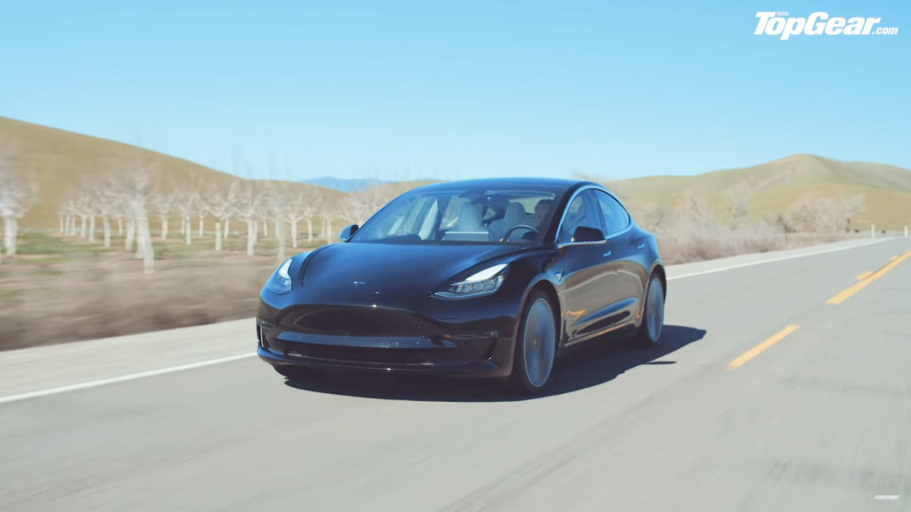 Top Gear's Tesla Model 3 Performance journeying from San Francisco to LA.