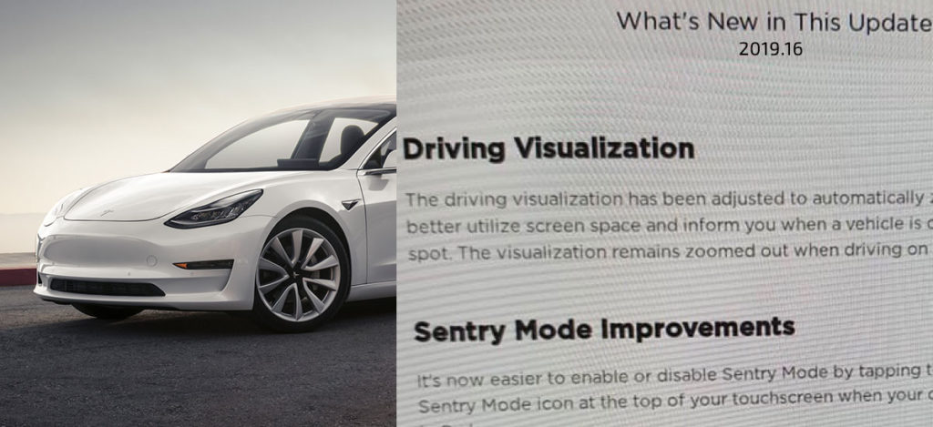 Tesla release notes 2019.16 with new features.