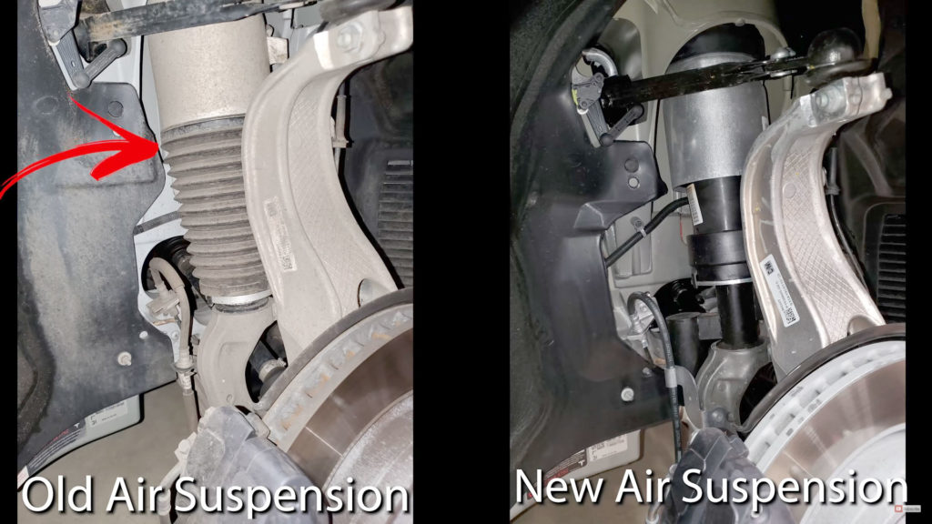 Difference in Old and New Tesla Model S Air Suspension Components - The old shock absorbers have bee totally renewed.