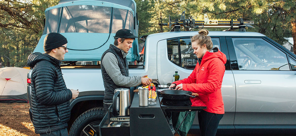 Meet the Rivian R1T Camper Pickup Truck with a mobile kitchen
