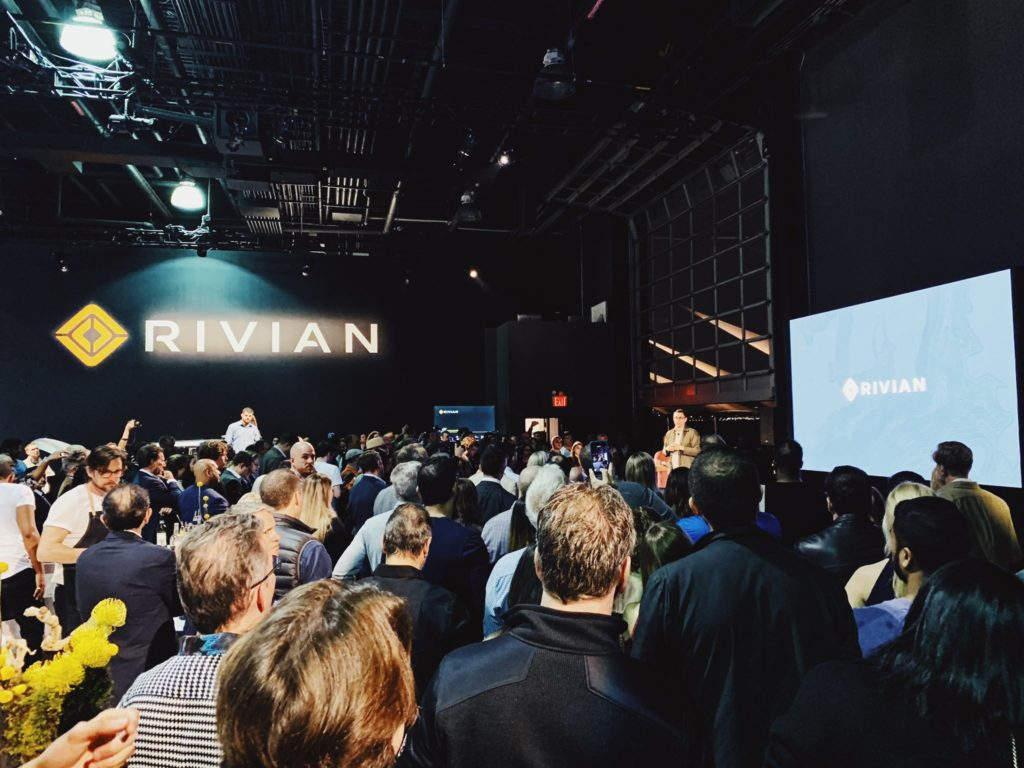 Rivian CEO RJ Scaringe giving a presentation to the Rivian pre-order community. Location: Classic Car Club, Manhattan, NY