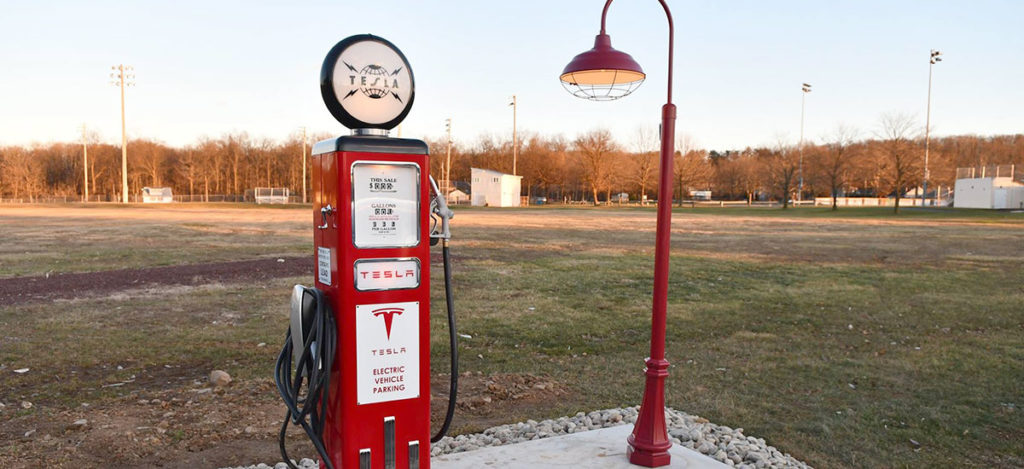 This vintage inspired Tesla Destination Charger goes viral