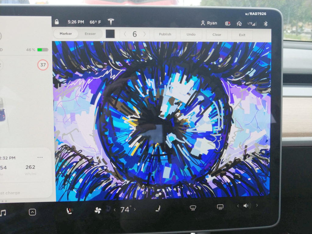 Artist draws an stunning looking human eye with depth on a Tesla Model 3 touchscreen using the Sketchpad Easter Egg.