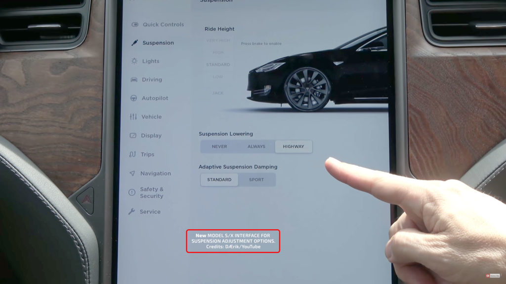 New Adaptive Air Suspension Center Touchscreen Interface for Tesla Model S.