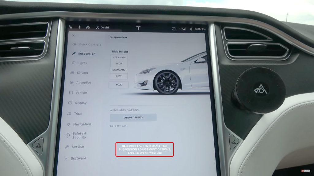 Old Adaptive Air Suspension Center Touchscreen Interface for Tesla Model S.