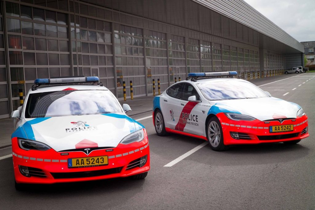 Two Tesla Model S of the Luxembourg Police pose for a picture.