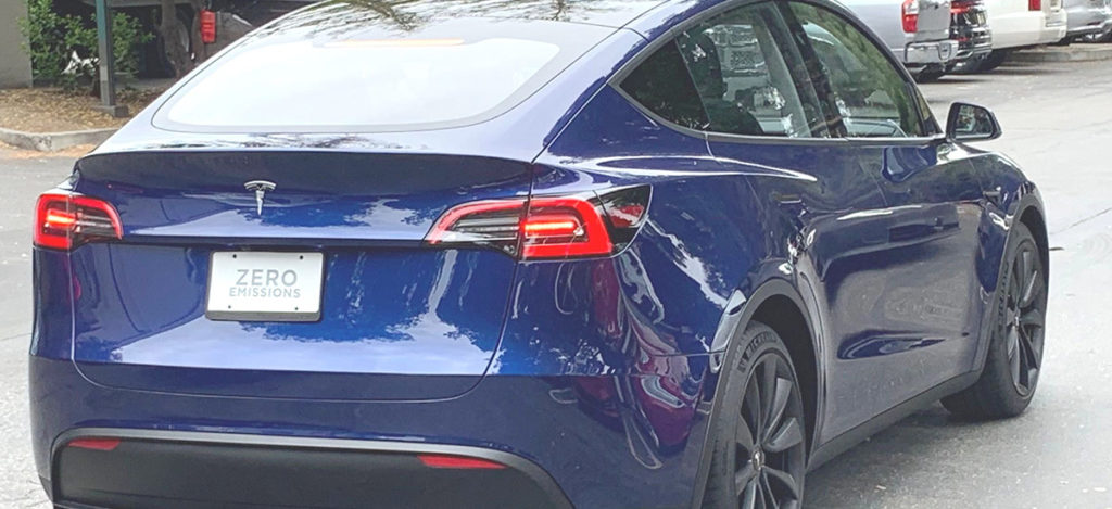 Blue Tesla Model Y spotted in the wild.