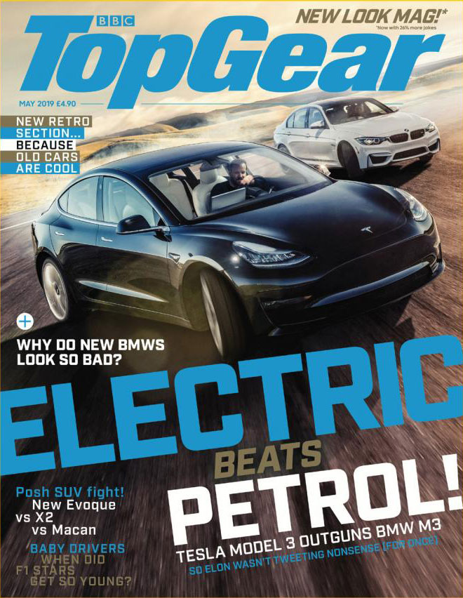 Top Gear Magazine Cover for May 2019, features Tesla Model 3 vs. BMW M3 on track battles. Image by: BBC Top Gear