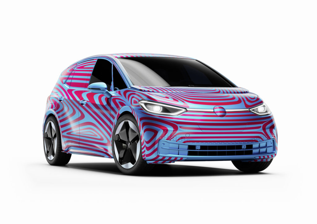 Volkswagen ID.3 compact electric hatchback - Front view in camouflage.