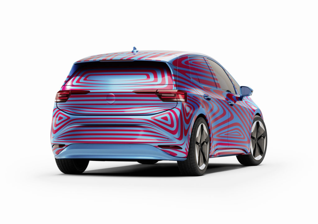 Volkswagen ID.3 compact electric hatchback - Rear view in camouflage.