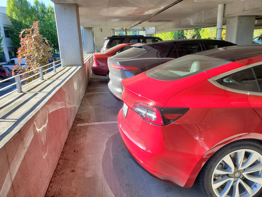 Tesla Model 3 and Jaguar I-Pace standing side-by-side in a parking lot - rear angle comparing length.