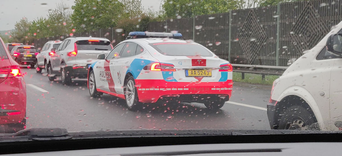 Luxembourg Police's Tesla Model S patrol car spotted in the rain