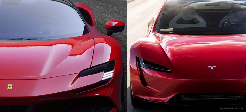 Next-gen Tesla Roadster vs. Ferrari SF90 Stradale