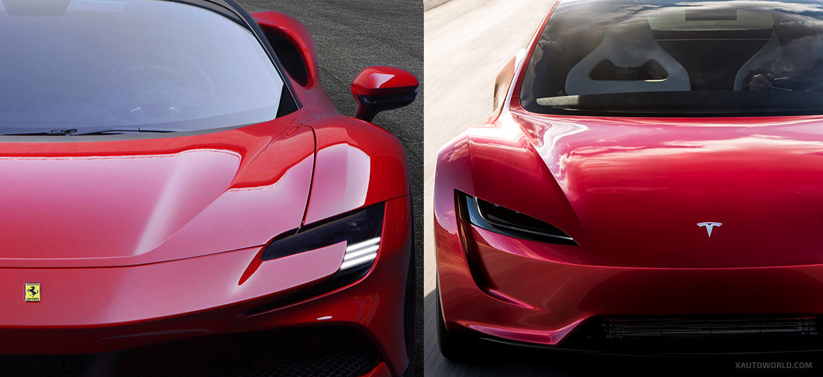 Next-gen Tesla Roadster vs. Ferrari SF90 Stradale