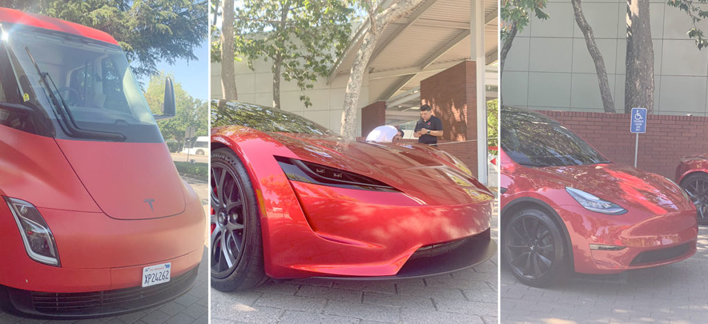 Tesla Semi Truck, Tesla Roadster and Tesla Model Y at the2019 Tesla Shareholder Meeting
